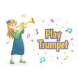 girl playing trumpet vector image vector image