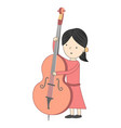 girl playing violoncello isolated on white vector image vector image