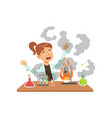 girl scientist after a failed experiment mixture vector image vector image