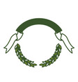 green olive branches and ribbon on top vector image vector image
