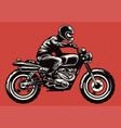 Hand drawing style man riding classic motorcycle vector image