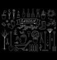 hand drawn chalk garden tools set vector image vector image