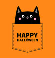 happy halloween cute black cat in the pocket pink vector image vector image