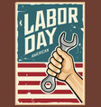 happy labor day america wrench in hand vector image vector image
