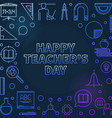 happy teachers day concept colorful linear vector image vector image