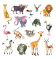 jungle wild animals savannah forest animal bird vector image vector image