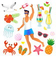 man relaxing on vacation male on beach summer vector image vector image