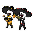 mexican skulls mariachis with trumpet and guitar vector image vector image