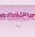 olztyn skyline in purple radiant orchid vector image vector image
