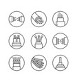optical fiber flat line icons network vector image