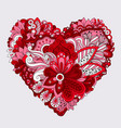 red floral heart doodle decorative element vector image vector image