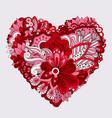 red floral heart doodle decorative element vector image