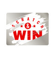 scratch cards lottery square ticket with silver vector image