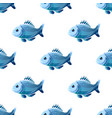 seamless pattern with cute cartoon fish on white vector image vector image
