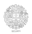 security in circle - concept line vector image vector image