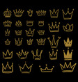 set hand drawn crown icons on dark background vector image vector image