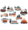 Set of Happy Halloween banners vector image