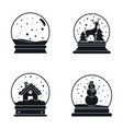 snow globe ball christmas icons set simple style vector image