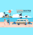summer vacation man woman surf bus sunrise vector image