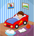 The boy was asleep in the car bed vector image vector image