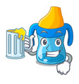 with juice cartoon baby drinking from training cup vector image