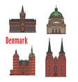 travel landmark of kingdom of denmark icon set vector image