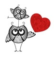 Two owls in love and red heart vector image
