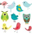 Cute birds set Vintage vector image