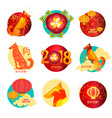 set of new year 2018 iconsstamps asian new year vector image