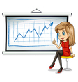 A businesswoman sitting in front of the bulletin vector image vector image