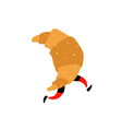 a running croissant sweet character with legs vector image vector image