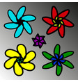 a set of flowers in childrens design vector image vector image