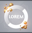 abstract paper banner with 3d golden spheres vector image vector image