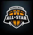 all star basketball sports logo emblem vector image vector image