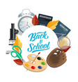 back to school college education study supplies vector image vector image