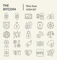 bitcoin thin line icon set crypto symbols vector image vector image
