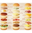Burgers set Ingredients buns cheese bacon vector image