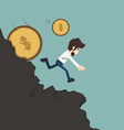 Businessman pushing coin vector image vector image