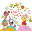 Cartoon color party with bear and girl vector image vector image