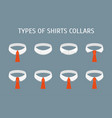 cartoon shirt collars different types icons set vector image vector image