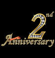 celebrating 2nd anniversary golden sign vector image vector image