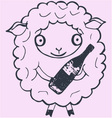 Christmas sheep with champagne vector image vector image