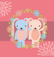 cute couple rabbits boy and girl floral decoration vector image vector image