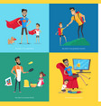 cute father spends time with children collection vector image