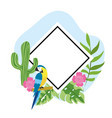 diamond emblem with parrot and tropical flowers vector image vector image