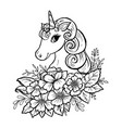 doodle cute unicorn head vector image vector image