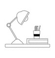 dotted shape wood shelf with desk lamp and office vector image