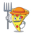 farmer pizza slice character cartoon vector image