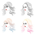 Fashion Hairstyles Lineart3 vector image vector image