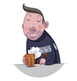 Fat man drinking beer vector image vector image